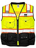 ML Kishigo S5002-L Premium Black Series Surveyors Vest Lime Large