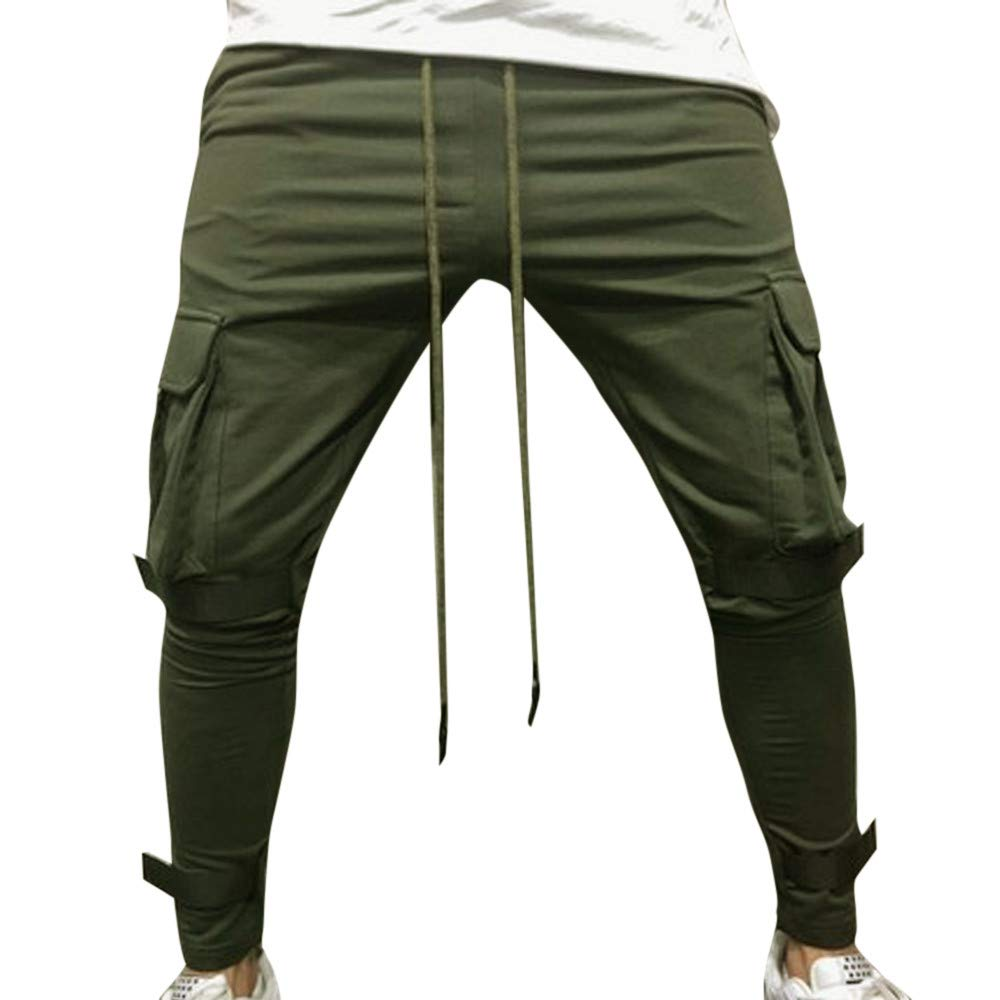 PASATO Clearace Sale! Men Pure Color Pocket Overalls Casual Pocket Sport Work Casual Trouser Pants(Army Green, M)