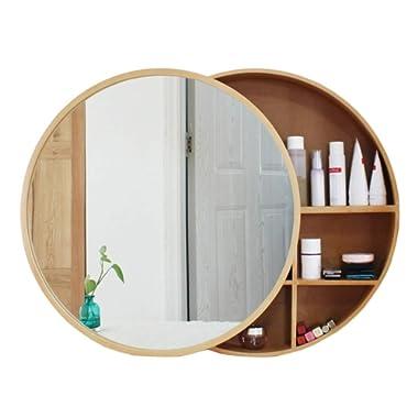 Xing Hua Shop Wall-Mounted Mirror Bathroom Mirror Cabinet Bathroom Mirror with Shelf Locker Wall-Mounted Makeup Vanity Round Mirror (Color : Wood Color, Size : 70cm)