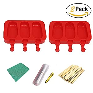 Pack of 2 ,3 Cavities Silicone Cute Ice Pop Mold with Lid,Ice Cream Maker Mold Cute Popsicle Mold with Sticks and Scouring Pad