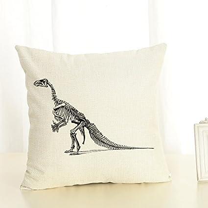 18inch 90g Fashion Cotton Linen Fabric Throw Pillow 45cm Dinosaur Animals New Home Bar Coffee House Decorative Pillowcase Sofa Back Cushion Cover Office Nap (1) Handmade houseware