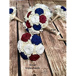 Wedding Bouquets in Ivory, Burgundy, Navy (Choose Bridesmaids & Bridals) Rustic Wedding Bouquets, Burlap Wedding Bouquets, Burlap Bouquets, Bridesmaids Bouquets, Bouquets 29