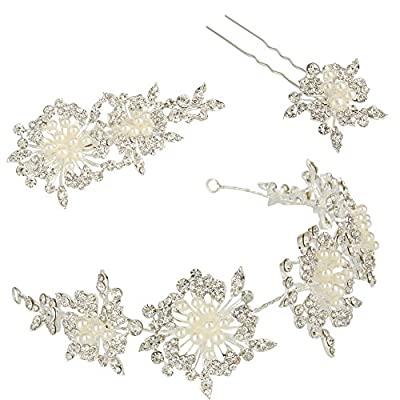 JoinMe Women's Fashion Crystal Flower Leaf Cluster Simulated Pearl Headband Hair Pin Clip Set Silver-Tone