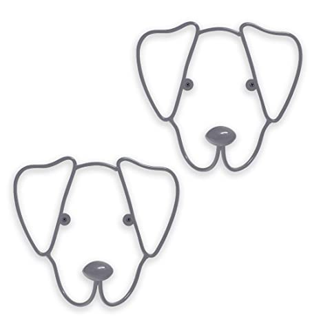 Balvi Colgador Pared The Dog Color Gris Set de 2 colgadores con Forma de Cabeza de Perro Hierro
