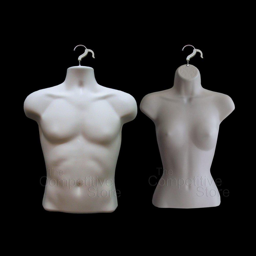 Mannequin Forms FLESH Male & Female Torso (2 pcs / Hard Plastic / Waist Long) with Hook for Hanging DisplayTown P78FLESH/P76FLESH