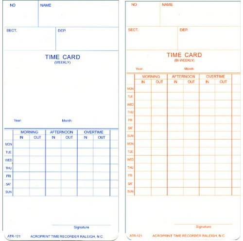 Acroprint 09-9110-000 Payroll Recorder Time Cards ATR121, For the ATR120 Time Clock, Pack of 250 Cards, Weekly/Bi-Weekly, English, 3-3/8'' x 7-1/4''
