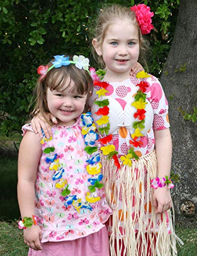 Moon Boat 60 Pieces Hawaiian Luau Leis Necklaces Bracelets - Tropical Tiki Hibiscus Flowers for Summer Pool Party Favors Supplies Decorations