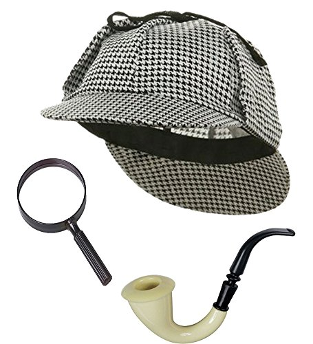 Sherlock Holmes Detective Bundle- Detective Hat Costume Pipe & Magnifying Glass Black and White (Sherlock Holmes Consulting Detective Board Game Review)