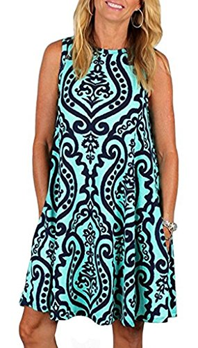 Boho Tshirt Dresses for Women Sleeveless Summer Beach Floral Shift Pockets Casual Swing Loose Damask (XL,Blue Green)