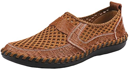 Forucreate Men's Summer Breathable Mesh Casual Walking Shoes Driving Loafers(Brown 43)