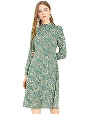 Allegra K Women's Floral Stand Collar Button Decor Swing Fall Dress