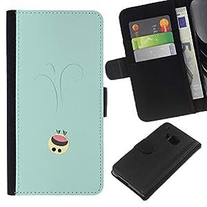 NEECELL GIFT forCITY // Billetera de cuero Caso Cubierta de protección Carcasa / Leather Wallet Case for HTC One M9 // Lindo Smiley