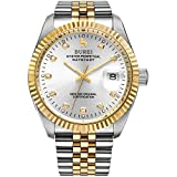 BUREI Men Automatic Mechanical Wrist Watches with Gold-Tone Stainless Steel Bracelet (Silver Dial)