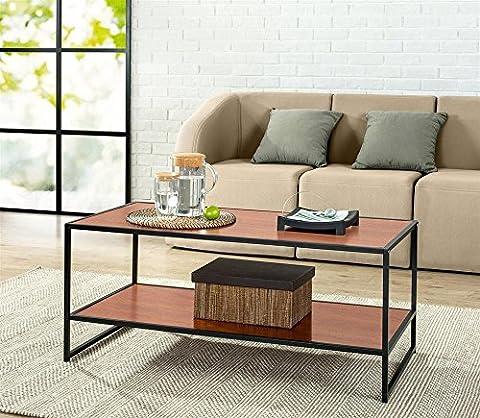 Yaheetech Modern Rectangular Wood Coffee Table Metal Legs with Lower Shelf for Living Room