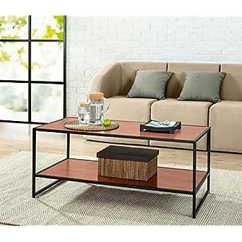 Yaheetech Modern Living Room 2 Shelf/Tier Large Rectangle Wood Coffee Table  Black Metal Legs