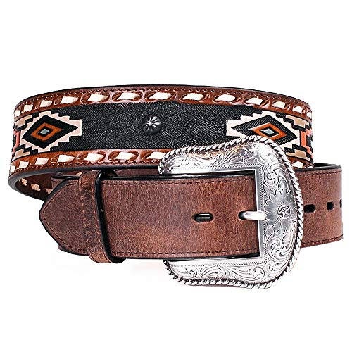 (Roper Men's Navajo Print Leather Belt Brown 46)