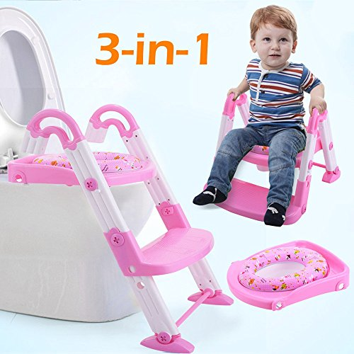 Toilet Chair Seat Step Ladder 3 in 1 Baby Potty Training Trainer Toddler Pink Pittayadomeshop by Pittayadomeshop