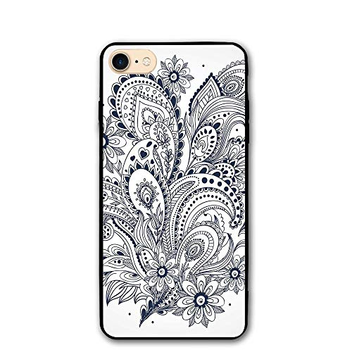 Haixia IPhone 7/8 Phone Case 4.7 Inch Henna Doodle Style Floral Arrangement Ornament Design Abstract Leaves Image Print Decorative Dark Blue White