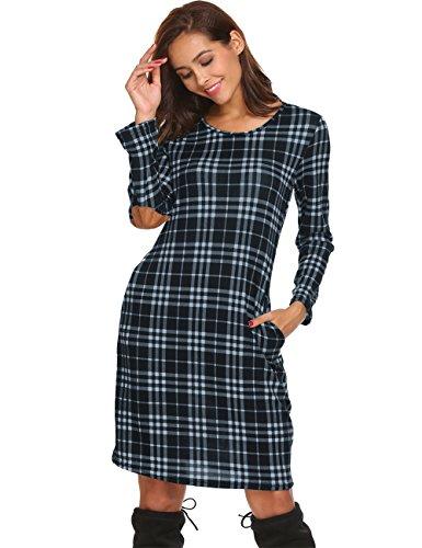 Ladies Long Sleeve Tartan Print Long Tops Mini Dress Blue,L ()