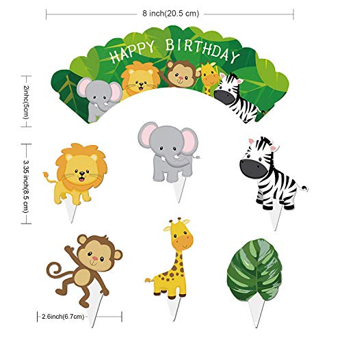Animal Birthday Party Supplies Jungle Safari Decorations Banner With Cupcake Toppers Wrappers Pack Of