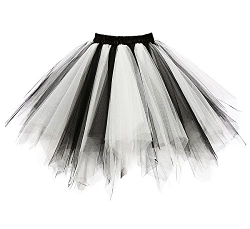 Dressever Vintage 1950s Short Tulle Petticoat Ballet Bubble Tutu Black/White Large/X-Large]()