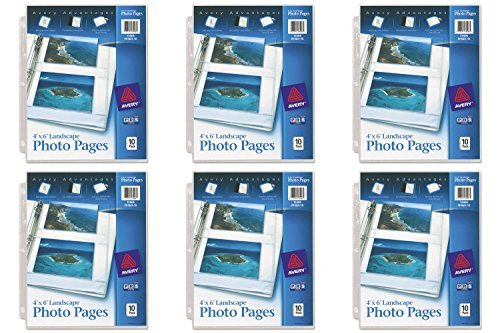 Avery Horizontal Photo Pages, Acid Free, 4 x 6 Inches, Pack of 10 (13406), 6 (Horizontal Photo Cards)