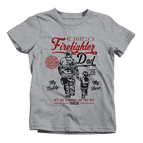 (Shirts By Sarah Boy's Daddy Is Firefighter T-Shirt My Hero Much Cooler Shirt (Sport Gray 2T))