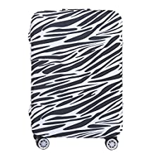 uxcell® Zebra-stripe Designed Luggage Suitcase Trolley Washable Cover 18-22 Inch Black White