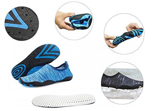 Foupler Hommes Femmes Mutifunctional Rapide Peau Sèche Chaussures Deau Ou Aqua Chaussettes Pour Nager Yoga Plage Piscine Bleu