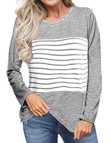 Womens Shirts and Blouses Long Sleeve Tshirts for Women Casual Tops Round Neck L ()
