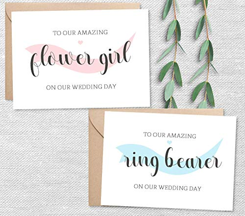 Set of 2, Thank You for Being Our Ring Bearer and Flower Girl Set with Envelopes, 2 Color Choices