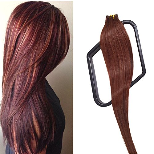 Mario Hair Tape In Human Hair Extensions Silky Straight Skin Weft Human Remy Hair (22 inches, #33)
