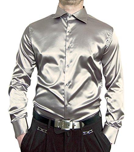 Larga Cuello Kent Renzo Plata Camisa Manga Hombre Casual Para qavvxtEXw