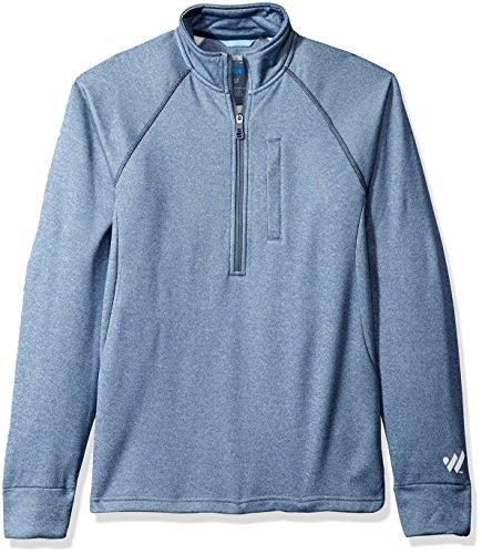 Wrangler Men's Cool Vantage Half Zip Long Sleeve Pullover, Denim Blue Heather, XXL