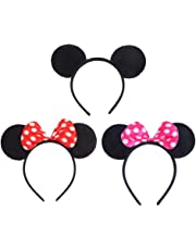 VEYLIN 3 Pack Mickey Minnie Mouse Ear Headband for Kids Adults Birthday Party Bag Favors