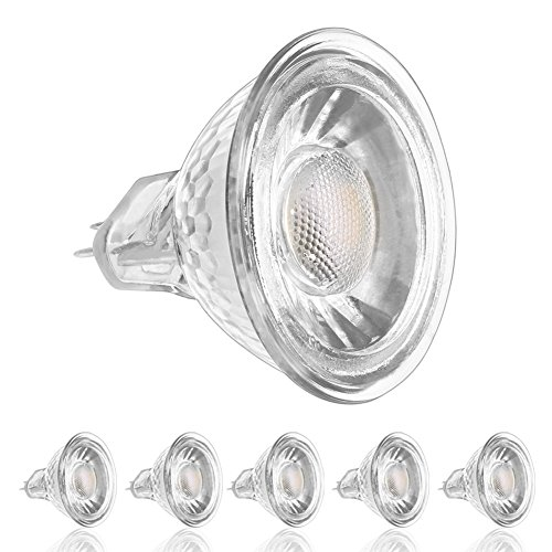 LEDERA MR16 GU5.3 LED Bulbs, 6000K Daylight, 5W(50W Halogen Equivalent), DC/AC12V, 6-Pack