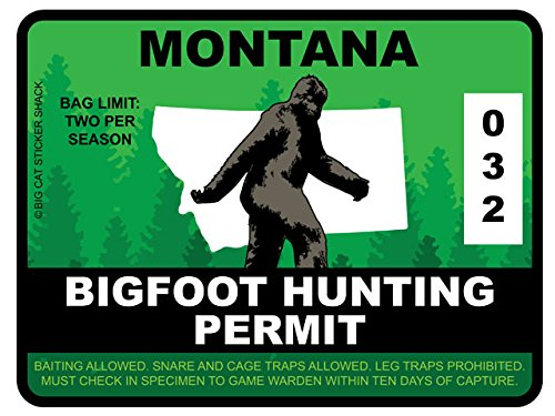 Bigfoot Hunting Permit - MONTANA (Bumper Sticker)