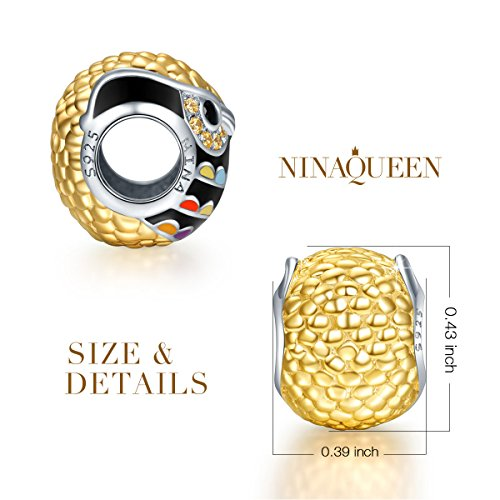 "NinaQueen ""Wise as Owls"" 925 Sterling Silver Gold Plated Multicolor Enamel Animal Bead Charms"