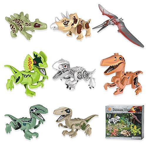 PAWACA Dinosaur Toys Playset, Realistic Mini Dino Toy DIY Building Block Action Figures Party Favor Toys, Perfect Educational Toy Gift and Decorations for Kids Boys Toddler