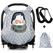 Luxurious Baby Car Seat Cover for Boys and Girls for Spring, Summer, Autumn, Winter - Windproof, Universal Fit, Zipped Window, Soft & Breathable Infant Newborn Carseat Canopy Cover, Light Grey by Baby