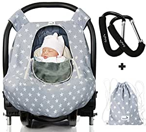 Luxurious Baby Car Seat Cover for Boys and Girls for Spring, Summer, Autumn, Winter - Windproof, Universal Fit, Zipped Window, Soft & Breathable Infant Newborn Car Canopy Cover, Light Grey by BabyDu
