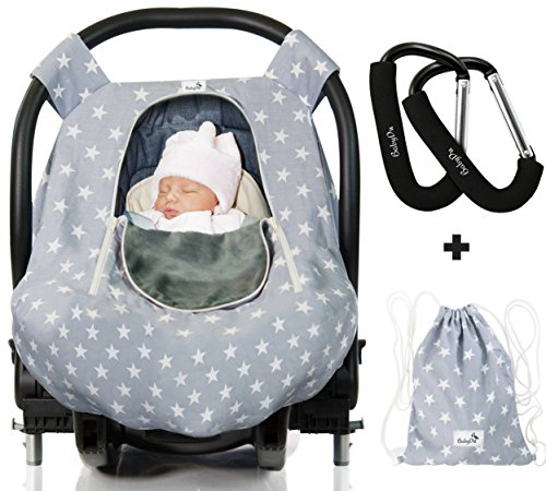 Luxurious Baby Car Seat Cover for Boys and Girls for Spring, Summer, Autumn, Winter - Windproof, Universal Fit, Zipped Window, Soft & Breathable Infant Newborn Carseat Canopy Cover, Light Grey by (Minky Infant Car Seat Cover)