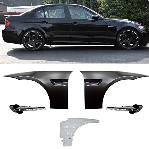 Side Fenders Fits 2006-2011 BMW 3 Series | 4Dr M3 Style Metal Fenders Side Vent LED Signal Lamp by IKON MOTORSPORTS | 2007 2008 2009 2010 ()