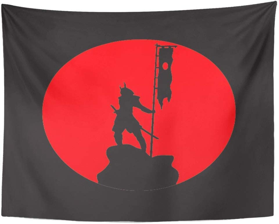 AOCCK Tapices Tapestry Wall Hanging Warrior The of Samurai Against Red Sun Samurai's Figure Symbol Japanes Sword Ancient 60
