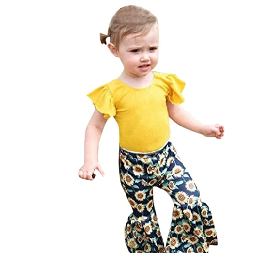 2caf46169 Amazon.com  Greal 2019 Infant Baby Girl Fly Sleeve T-Shirt Tops+ ...