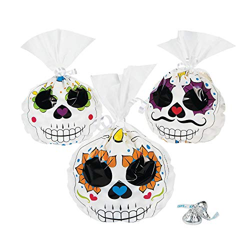 Fun Express - Day Of The Dead Cello Bags for Halloween - Party Supplies - Bags - Cellophane Bags - Halloween - 12 Pieces