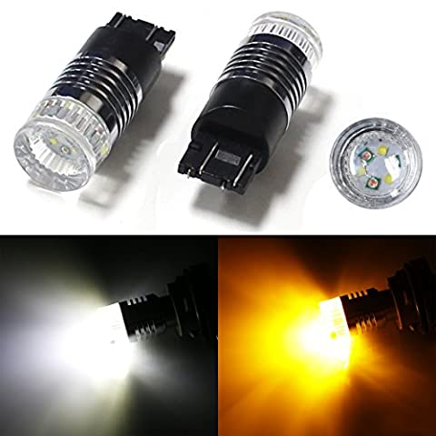 iJDMTOY (2) High Power 30W CREE White/Amber 7443 7444 T20 Switchback LED Bulbs For Front Turn Signal Lights