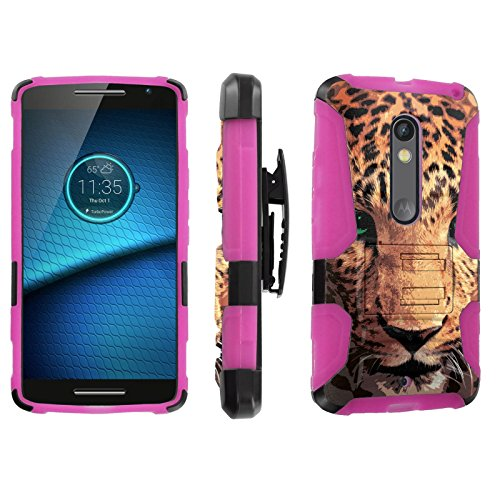 [SkinGuardz] Case for Motorola Droid Maxx 2 / Moto X Play [Heavy Duty Ultra Armor Tough Case with Holster] - [Cheetah Face]