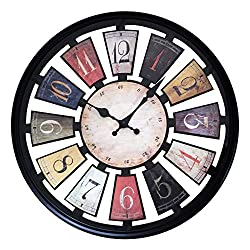SUN-E 17 Inch Silent Non-Ticking Clock Decor Vintage Rustic Country Tuscan Style Wall Clocks Decorative for Kitchen Living Room Home Office School,Classic Round (Black)