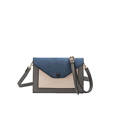 f8dfe785861 Melie Bianco Vivian Colorblock Vegan Leather Crossbody Clutch (Grey):  Handbags: Amazon.com